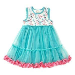 Matilda Jane turquoise Floral Ruffle  Dress